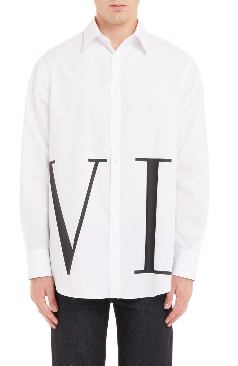 VALENTINO VLTN Print Slim Fit Shirt, Main, color, BIANCO OTTICO