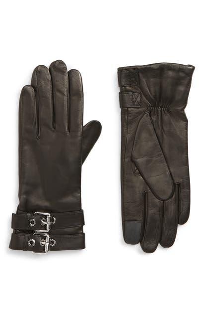 Allsaints Buckled Leather Gloves In Black/ Shiny Nickel