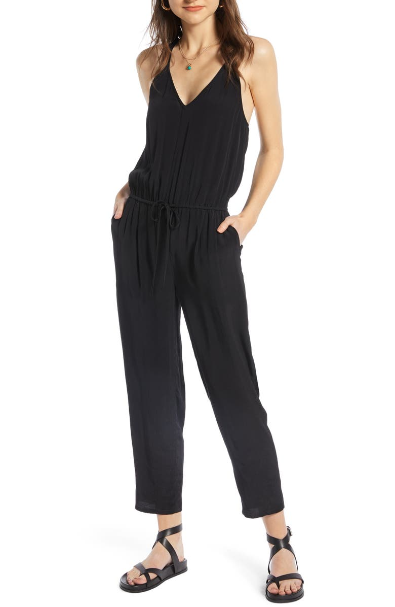 TREASURE & BOND Drawstring Jumpsuit, Main, color, BLACK