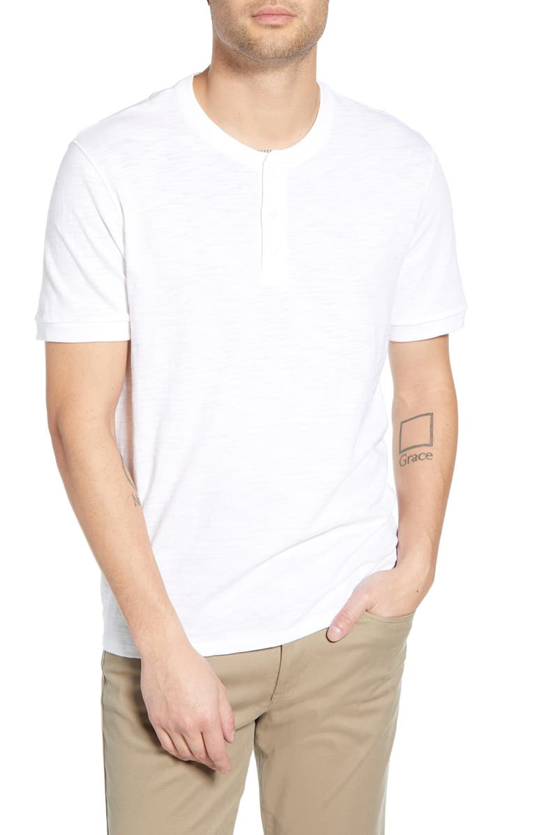 VINCE Slim Fit Slub Knit Henley, Main, color, WHITE
