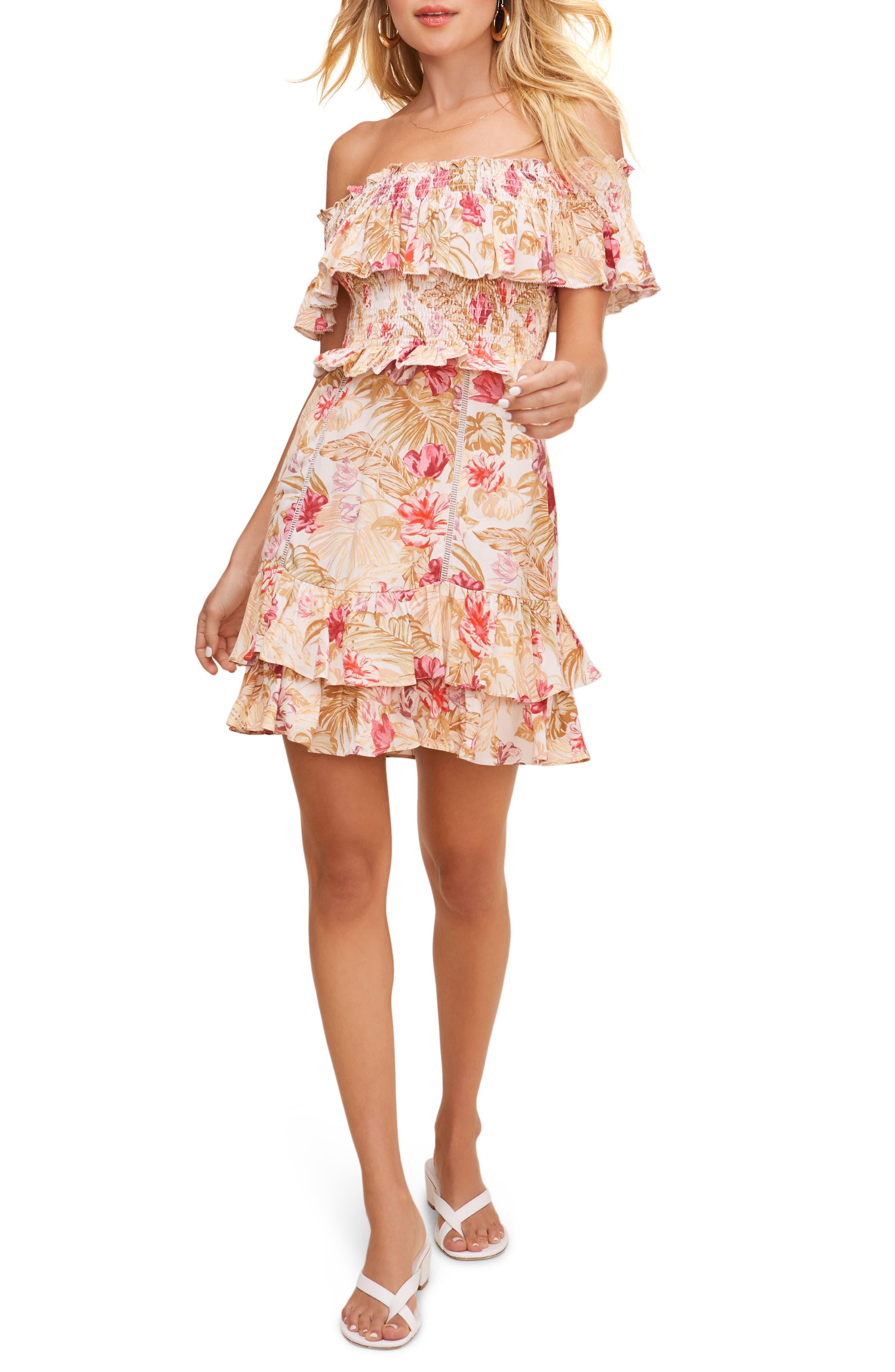 Riviera Floral Off The Shoulder Minidress