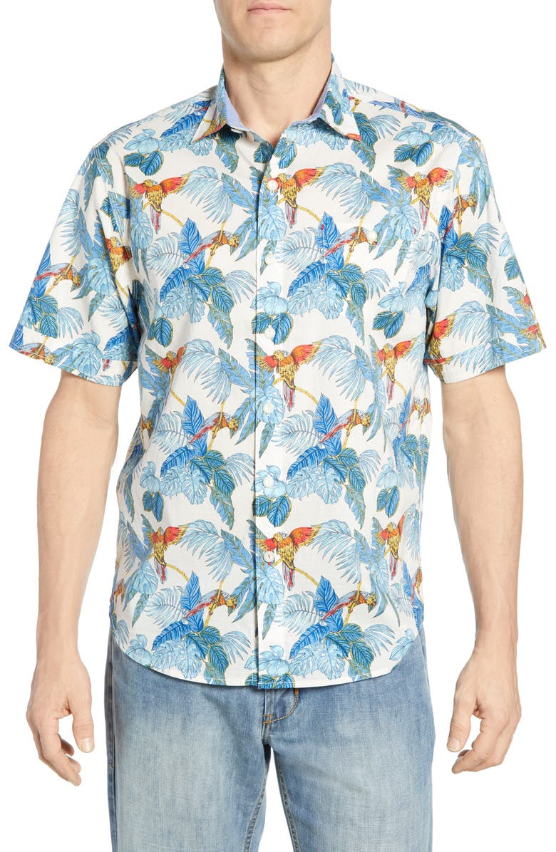 TOMMY BAHAMA 24 Parrot Fronds Classic Fit Shirt, Main, color, COCONUT CREAM