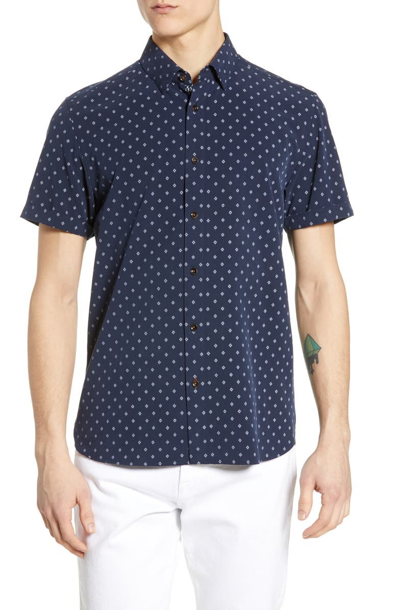 TED BAKER LONDON Seret Slim Fit Diamond Print Woven Shirt, Main, color, NAVY