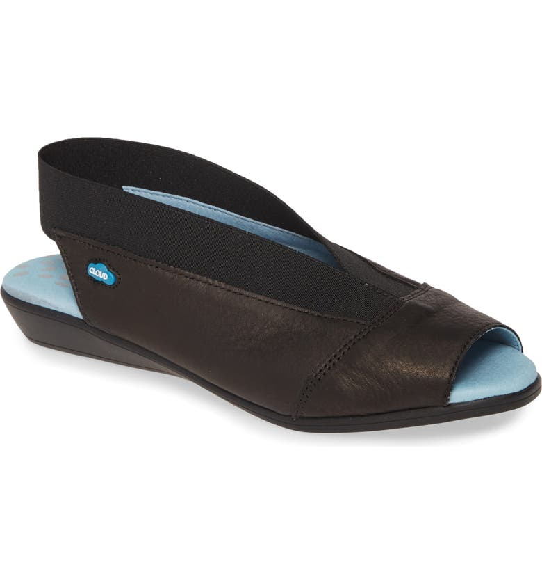 CLOUD Caliber Slingback Sandal, Main, color, BLACK LEATHER