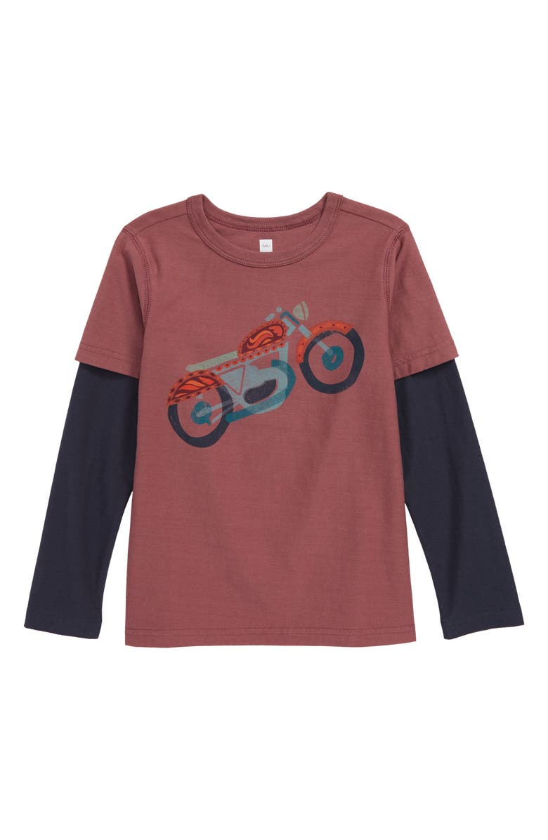 TEA COLLECTION Motorcycled Graphic Layered Long Sleeve T-Shirt, Main, color, CASSIS
