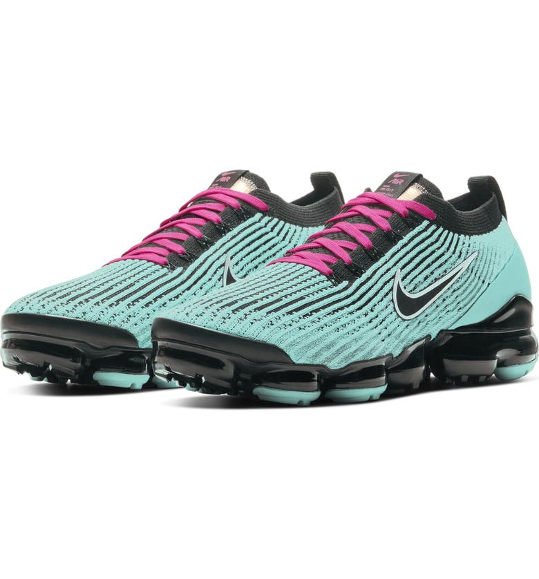NIKE Air VaporMax Flyknit Sneaker, Main, color, TURQUOISE/ BLACK PINK/ WHITE