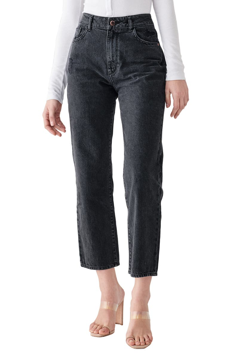 DL1961 x Marianna Hewitt Jerry High Waist Vintage Crop Straight Leg Jeans, Main, color, SALINA
