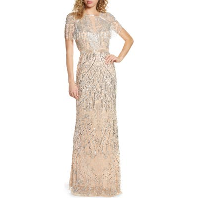 MAC Duggal Sequin Fringe Detail Gown, Metallic
