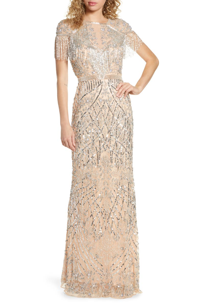 MAC DUGGAL Sequin Fringe Detail Gown, Main, color, PLATINUM
