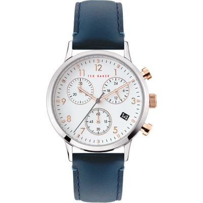 Ted Baker London Cosmop Chronograph Leather Strap Watch, 40Mm