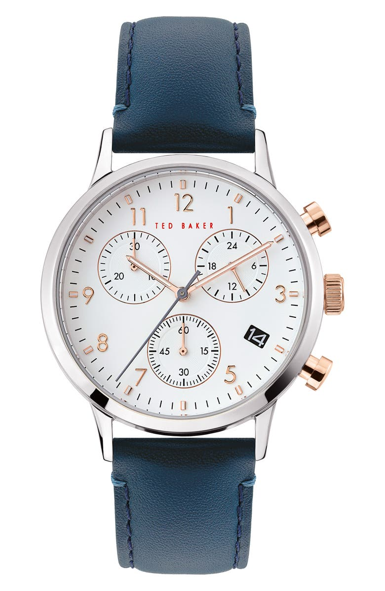 TED BAKER LONDON Cosmop Chronograph Leather Strap Watch, 40mm, Main, color, BLUE/ WHITE/ SILVER