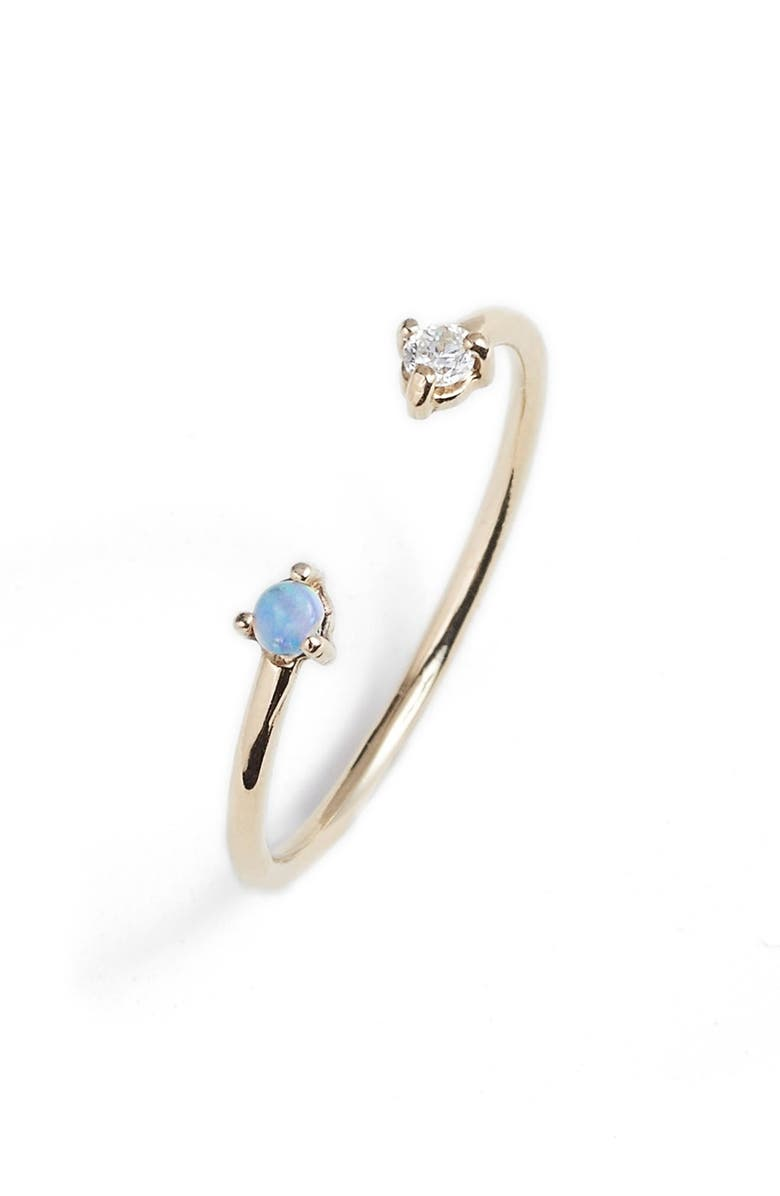 WWAKE Counting Collection Two-Step Opal & Diamond Ring, Main, color, YELLOW GOLD