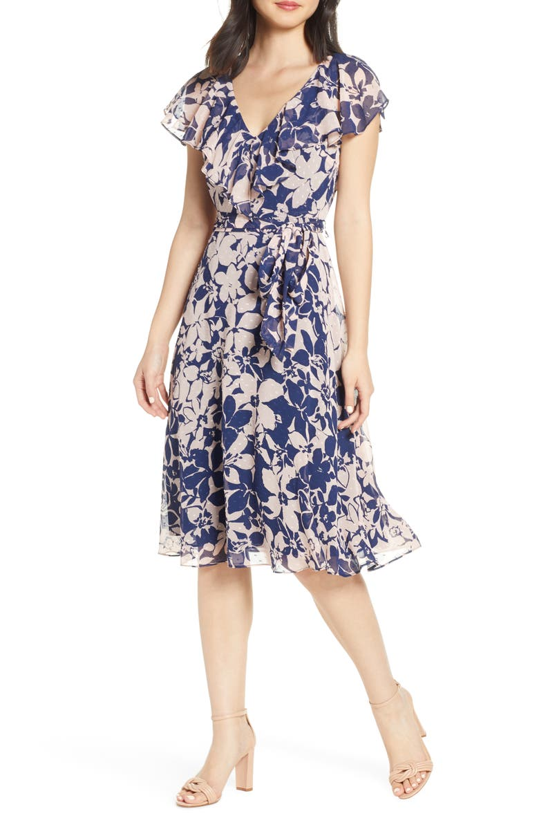 ELIZA J Floral Print V-Neck Clip Dot Dress, Main, color, NAVY