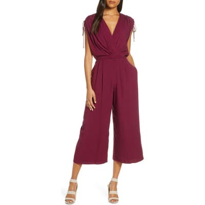 Gal Meets Glam Collection Luella Ruched Shoulder Crop Jumpsuit, 8 (similar to 1) - Burgundy