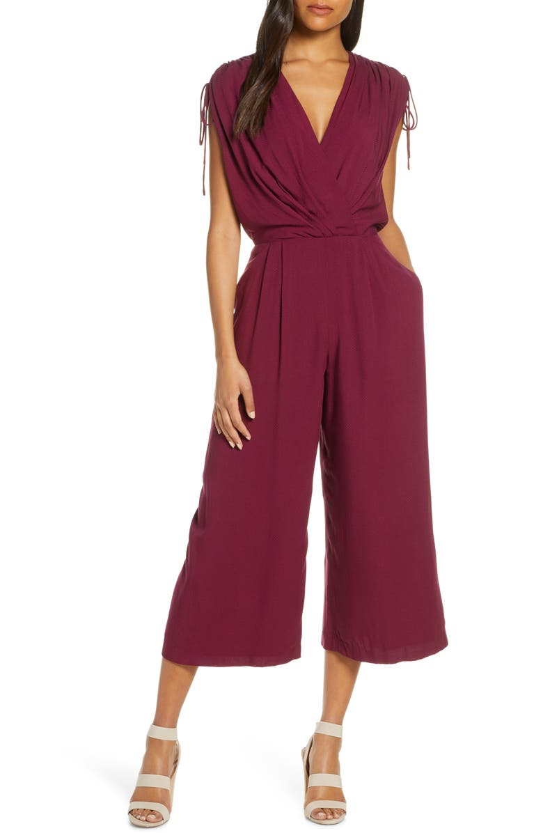 GAL MEETS GLAM COLLECTION Luella Ruched Shoulder Crop Jumpsuit, Main, color, OXBLOOD