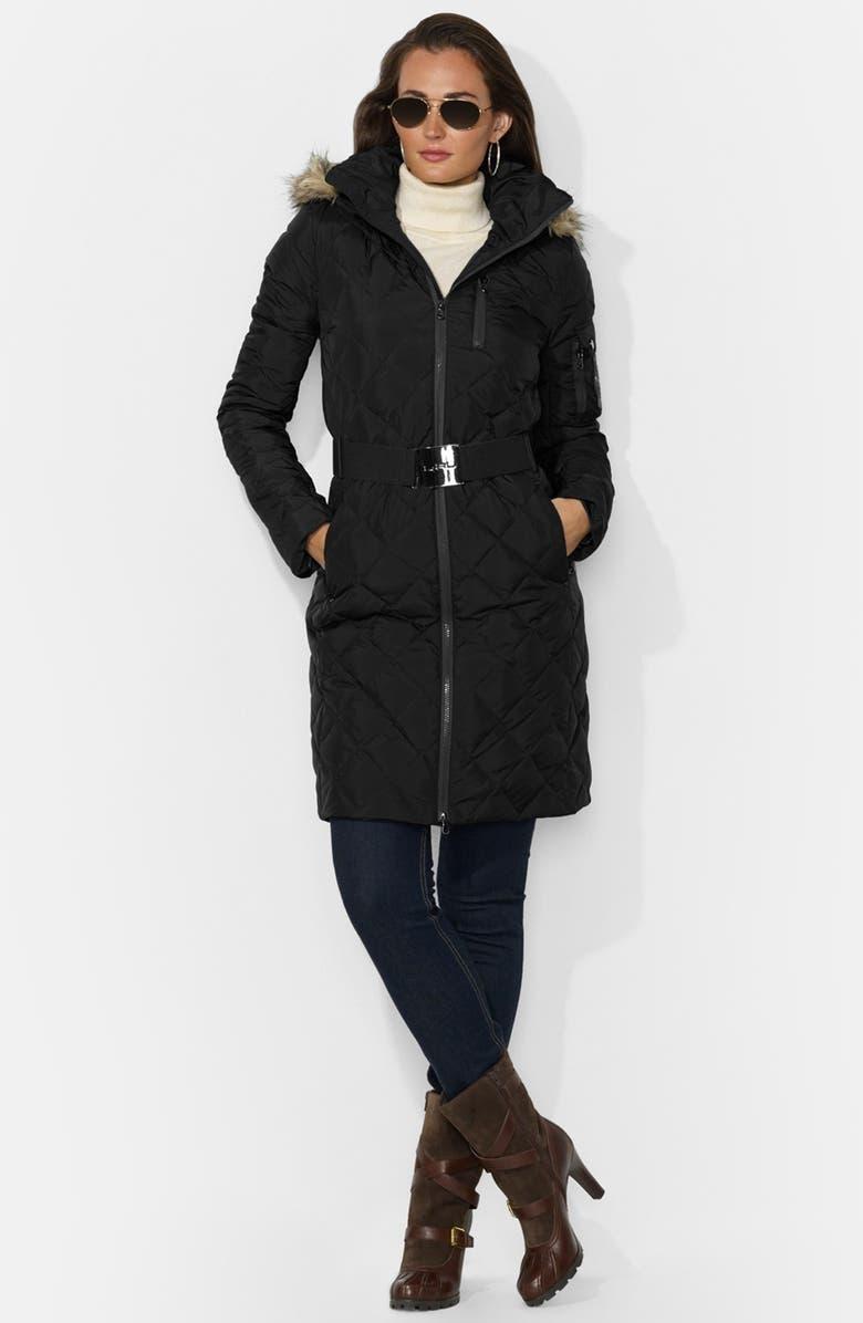 Lauren Ralph Lauren Faux Fur Trim Belted Down Coat   Nordstrom