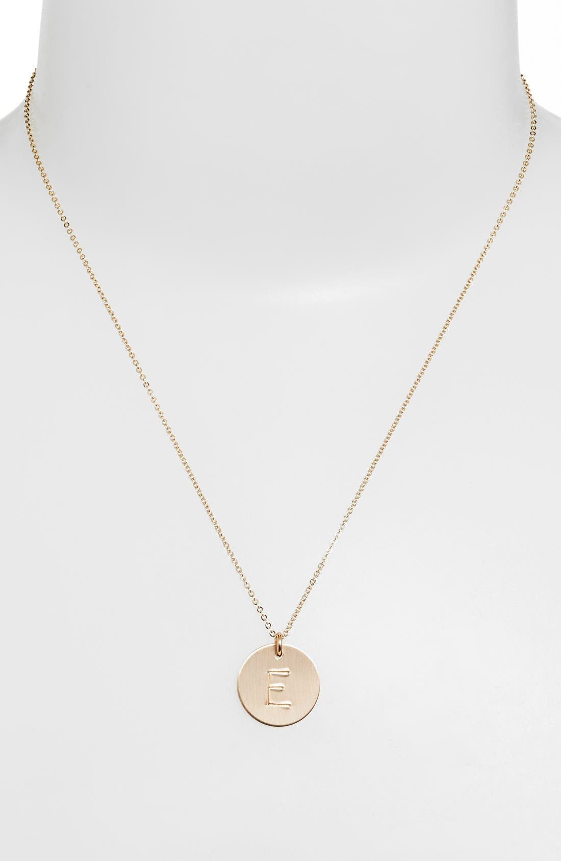 ,                             14k-Gold Fill Initial Disc Necklace,                             Alternate thumbnail 3, color,                             14K GOLD FILL E
