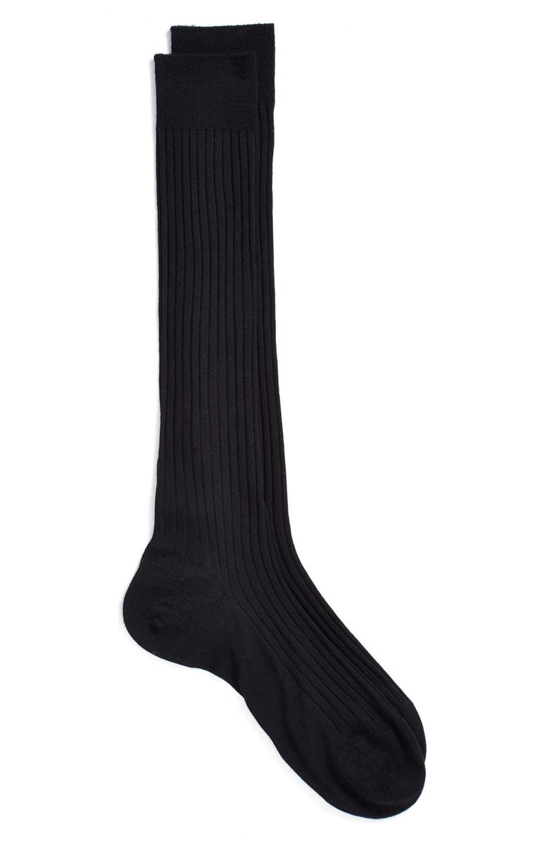 PANTHERELLA Merino Wool Blend Over-the-Knee Dress Socks, Main, color, BLACK