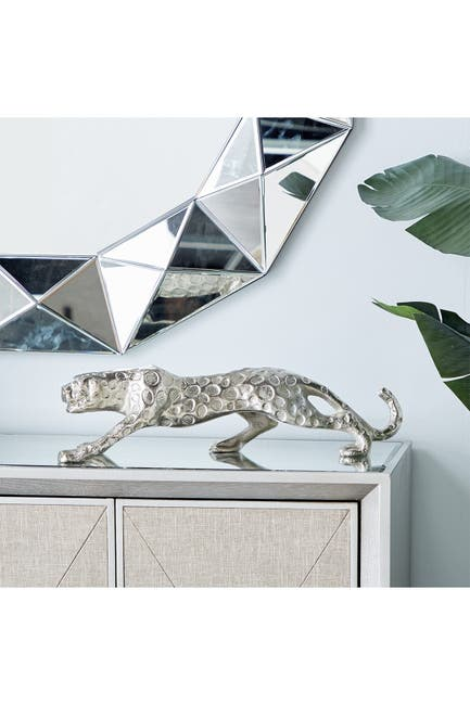 Image of Willow Row Small Aluminum Jaguar Statue Decor in Matte Silver Finish - 21      x6