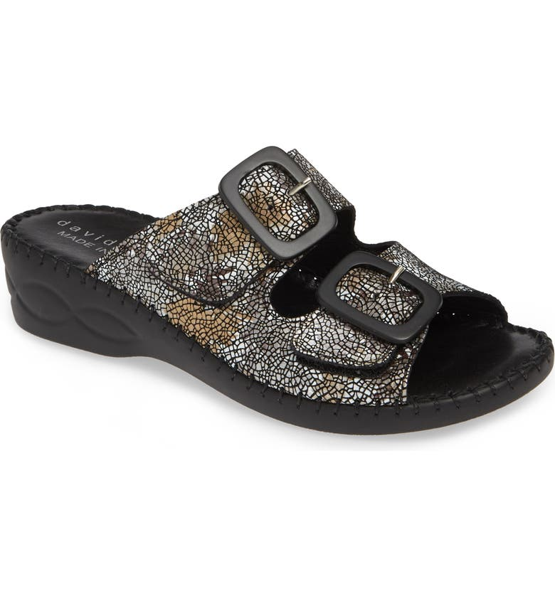 DAVID TATE La Vida Slide Sandal, Main, color, BLACK LEATHER