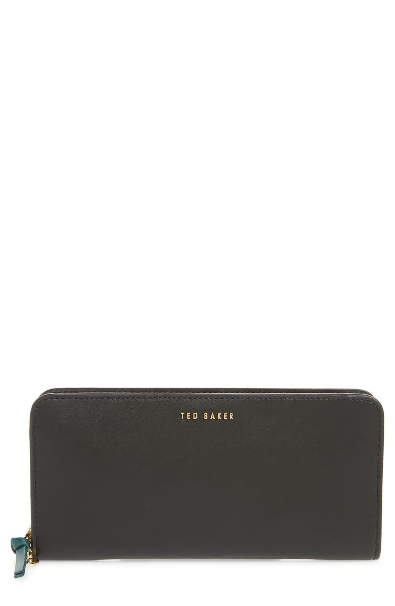 TED BAKER LONDON Heloise Smooth Leather Zip Matinée Wallet, Main, color, 001