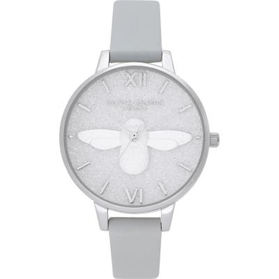Olivia Burton Glitter Dial Eco Faux Leather Strap Watch,