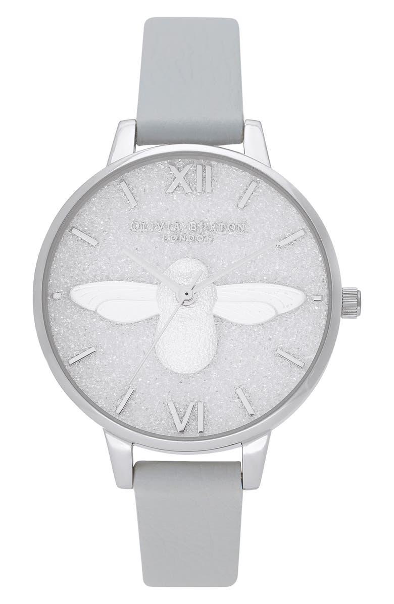 OLIVIA BURTON Glitter Dial Eco Faux Leather Strap Watch, 34mm, Main, color, GREY/ GLITTER/ SILVER
