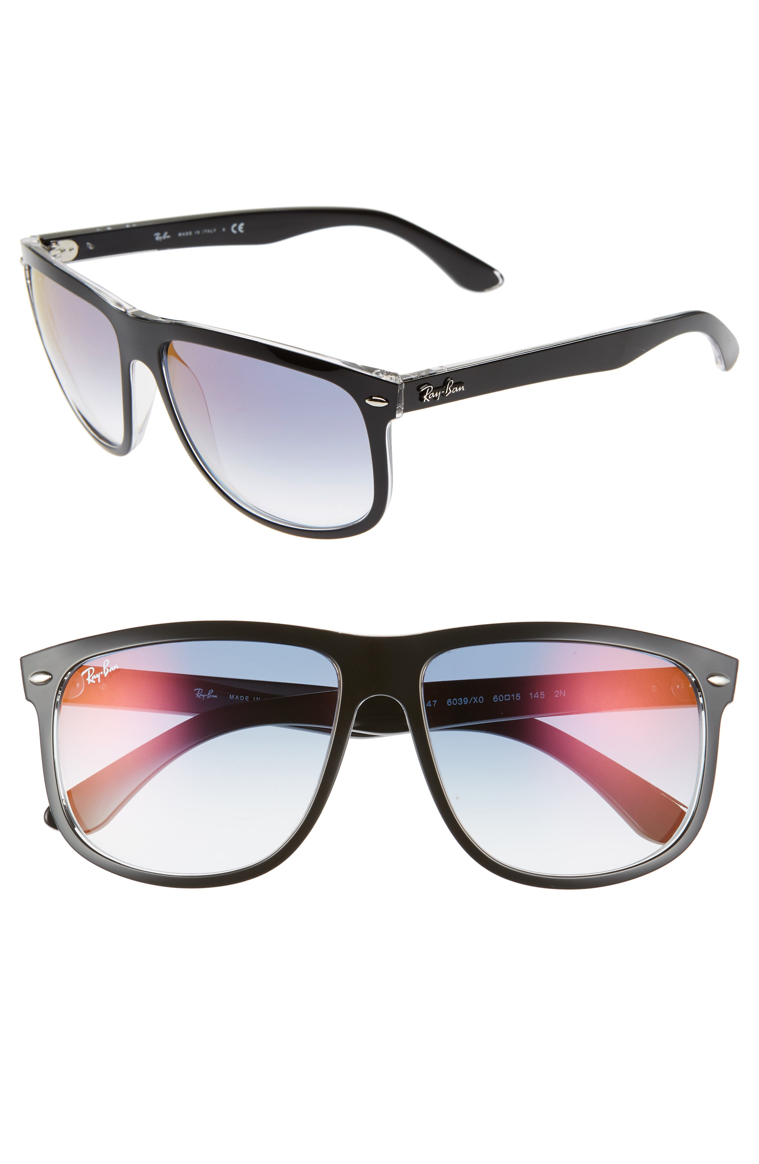 Ray-Ban 60Mm Mirrored Sunglasses - Top Black Gradient Mirror