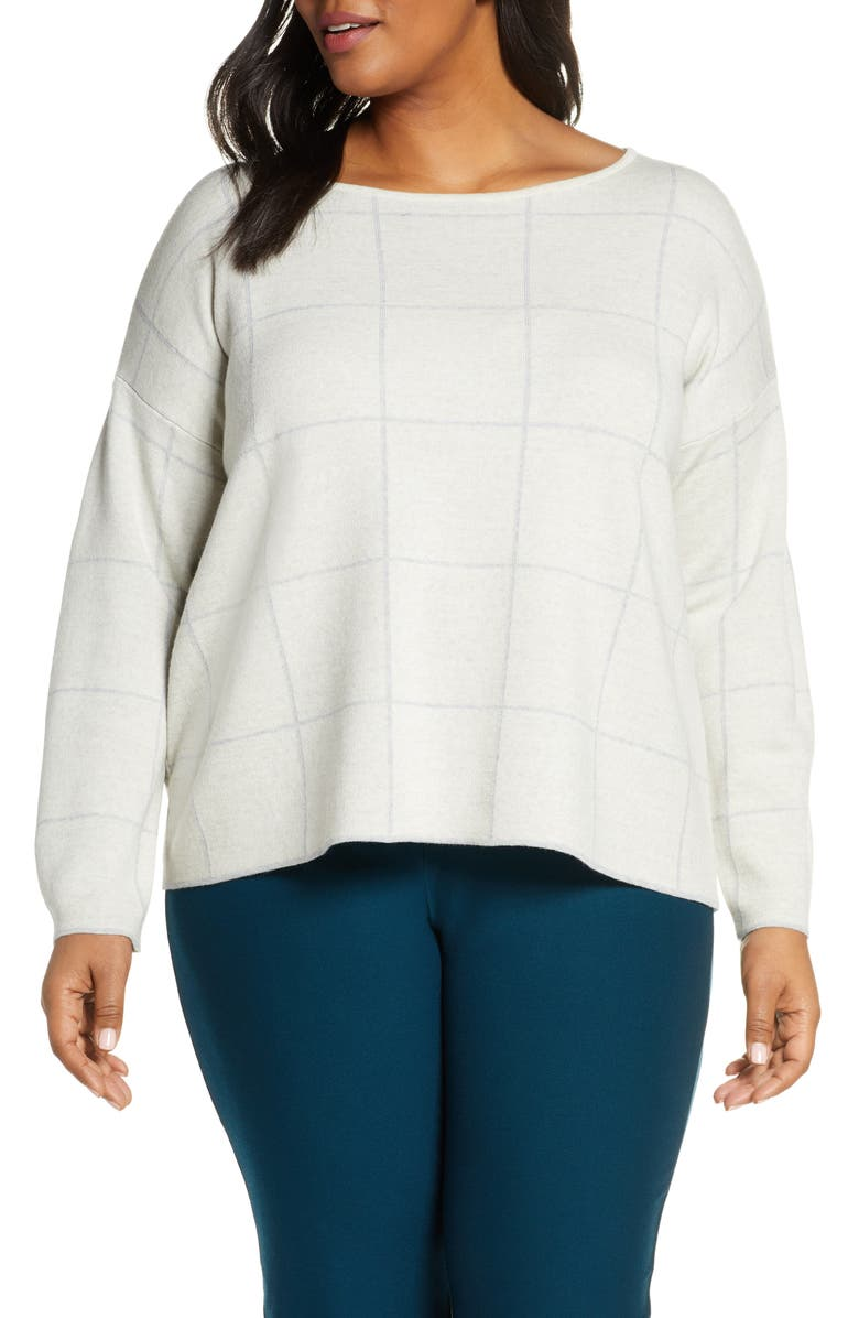 EILEEN FISHER Bateau Neck Wool Blend Sweater, Main, color, BONE