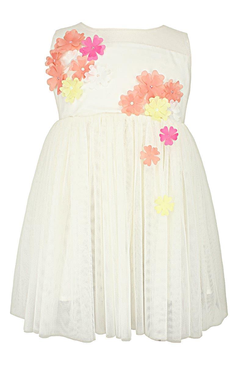 POPATU Floral Appliqué Tulle Dress, Main, color, WHITE