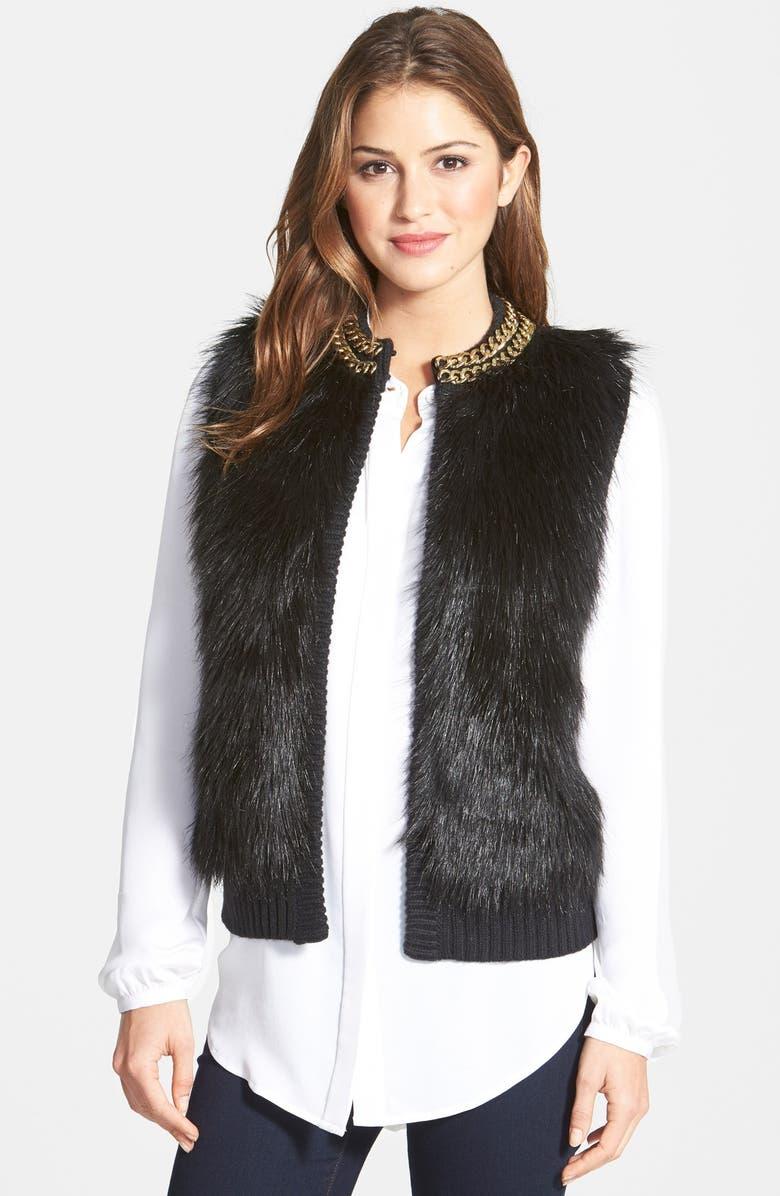 MICHAEL MICHAEL KORS Chain Detail Faux Fur Front Sweater Vest, Main, color, 001