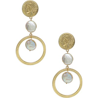 Ettika Coin & Freshwater Pearl Drop Earrings