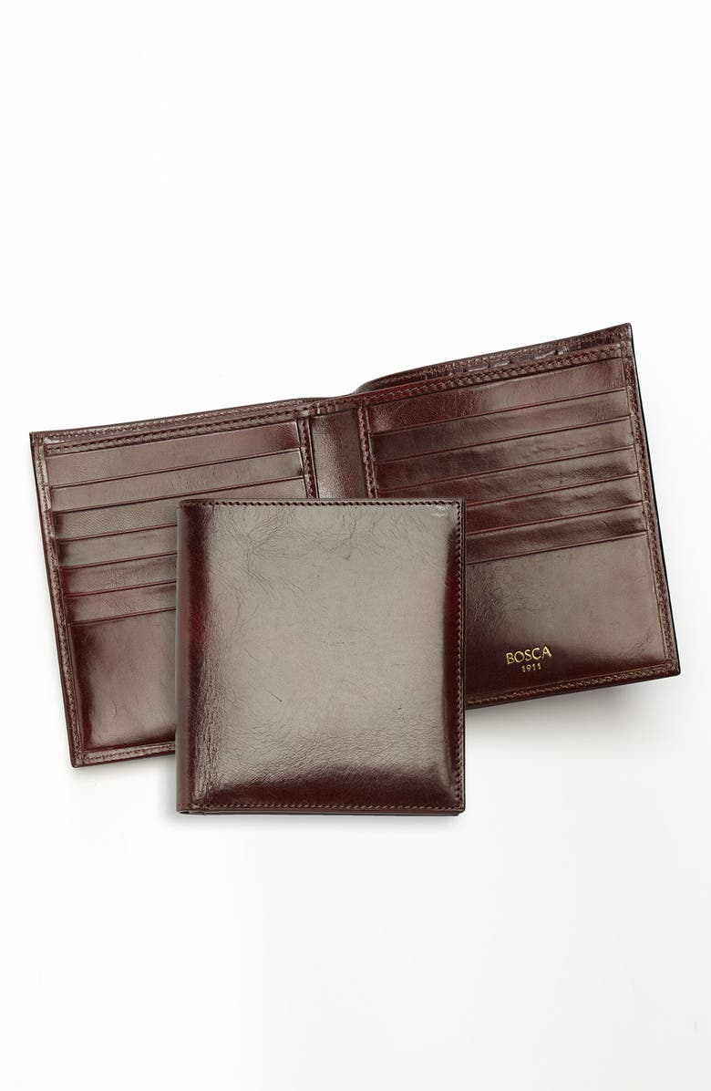 BOSCA Old Leather Card Wallet, Main, color, DARK BROWN
