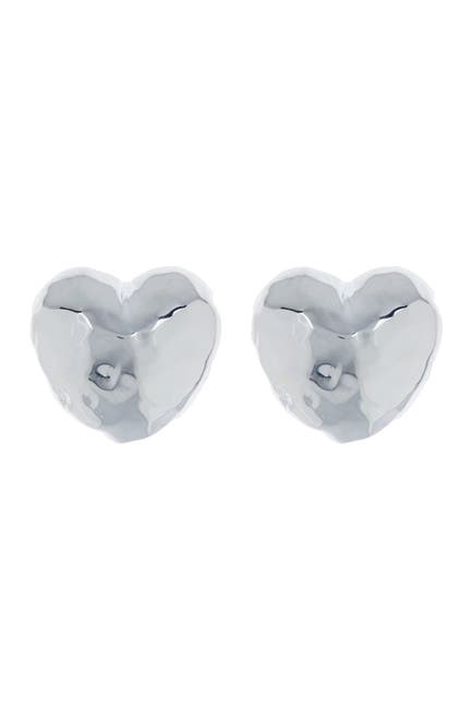 Image of Ippolita Glamazon Sterling Silver Hammered Heart Stud Earrings