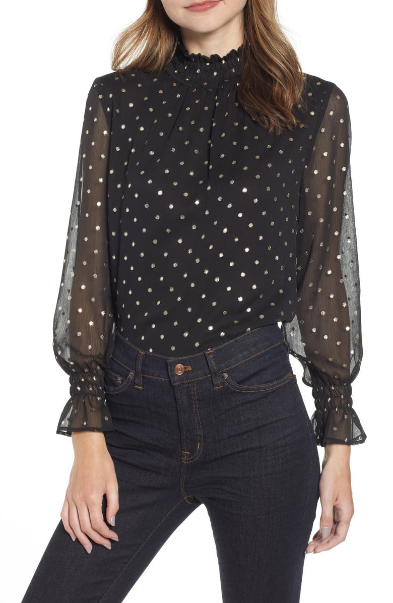 MING WANG Polka Dot Georgette Blouse, Main, color, BLACK/ GILDED GOLD