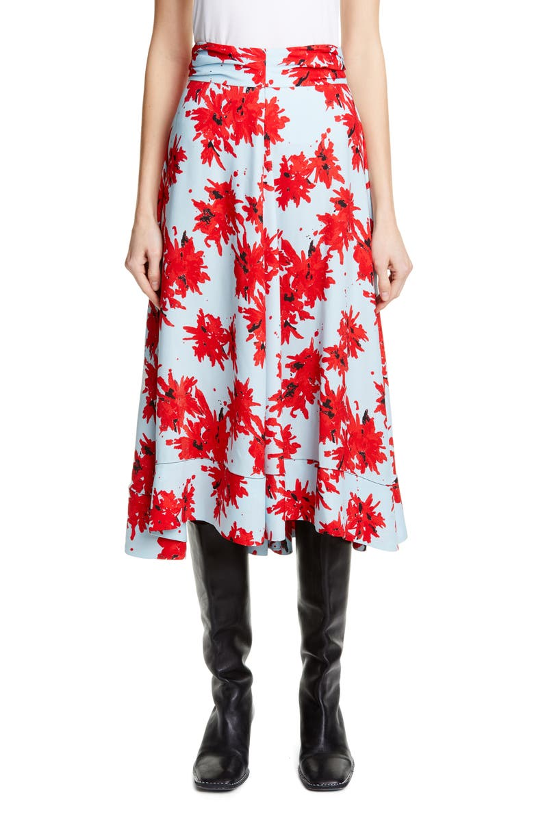 PROENZA SCHOULER Floral Midi Skirt, Main, color, RED/ BABY BLUE SPLATTER
