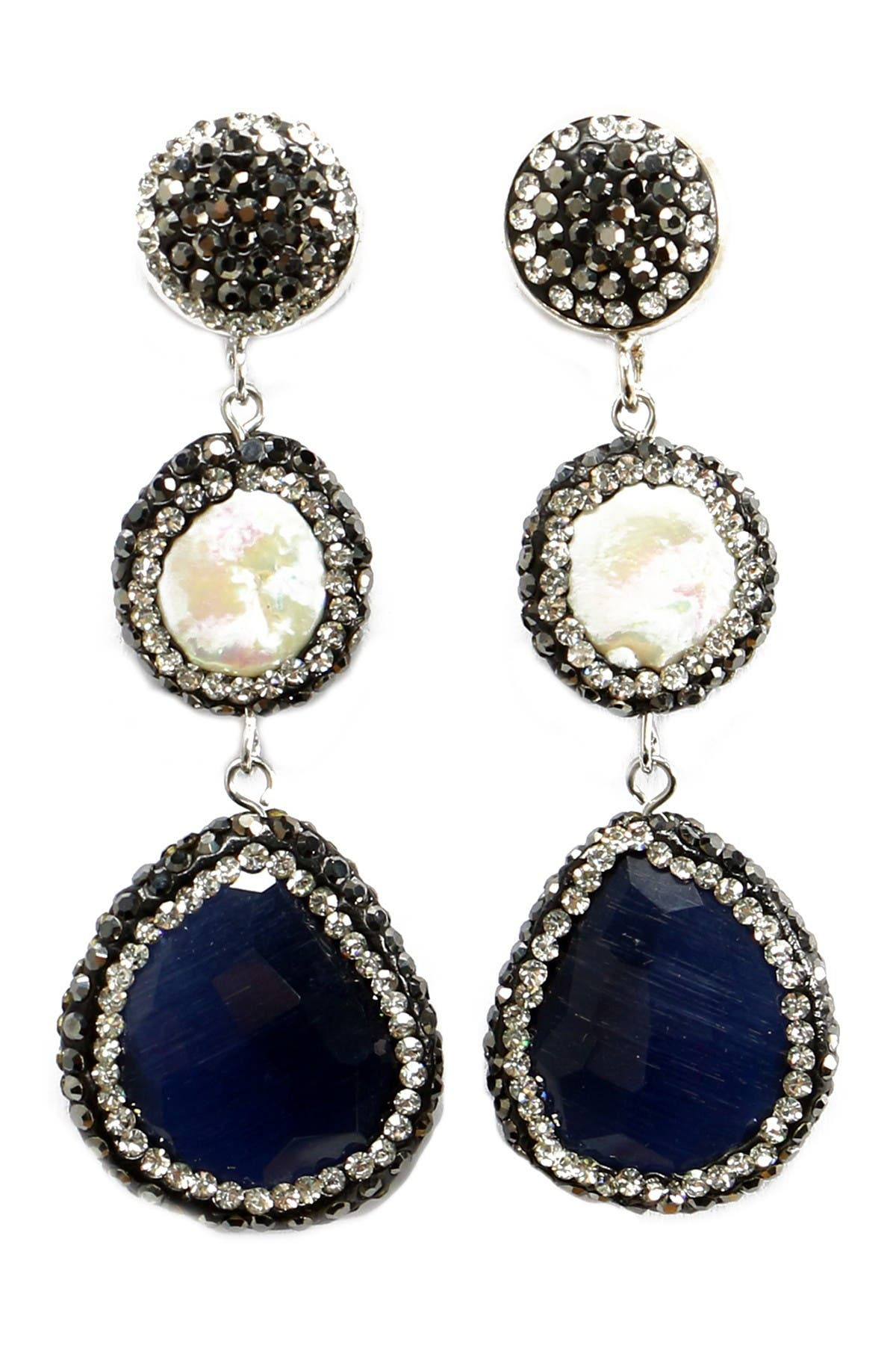 Image of Eye Candy Los Angeles Lapis & Pearl With Halo Set Crystal & Hematite Triple Drop Earrings