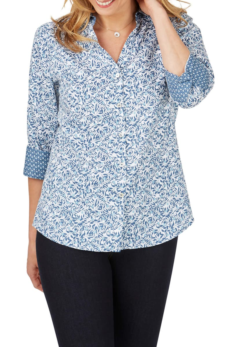 FOXCROFT Mary Winding Vines Print Shirt, Main, color, MULTI
