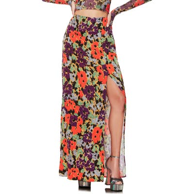 Afrm Lou Side Slit Skirt, Black