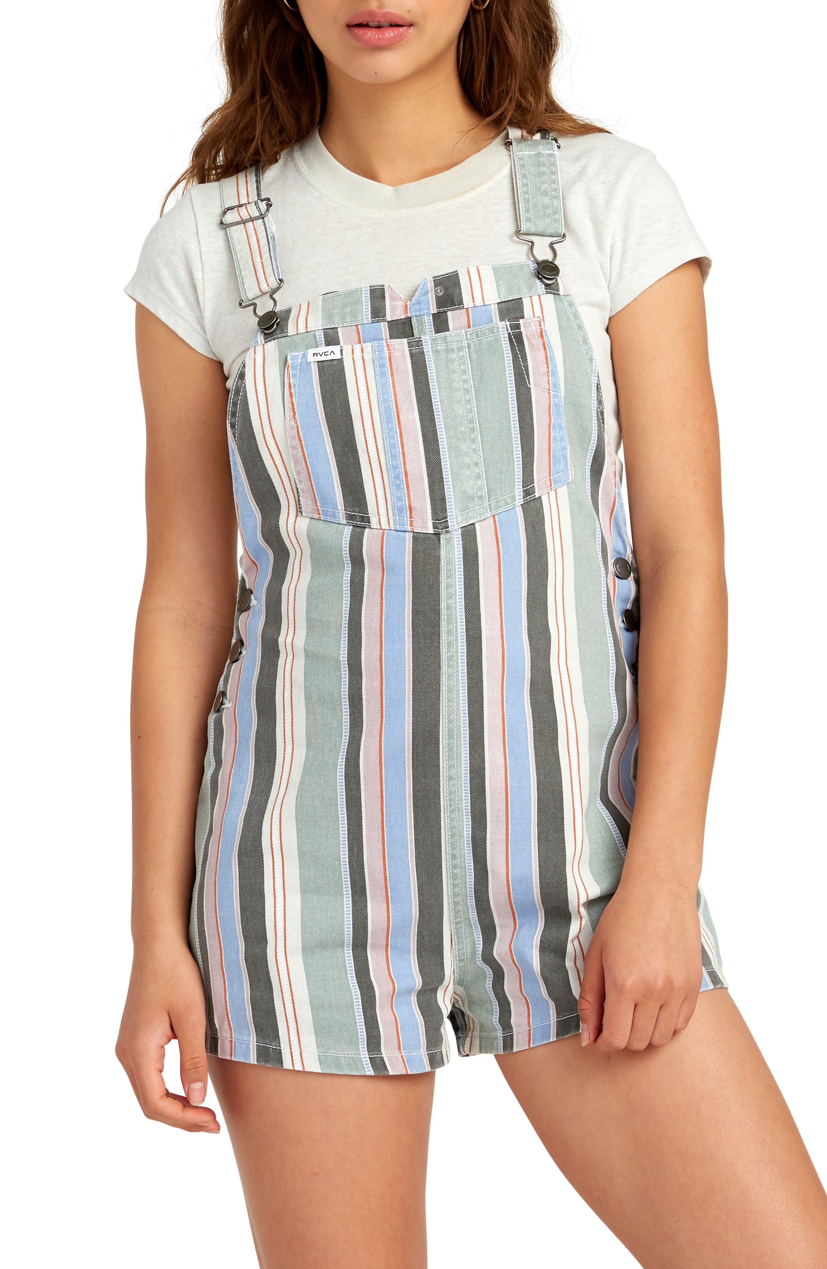 ,                             Townhouse Stripe Denim Shortalls,                             Main thumbnail 1, color,                             MULTI