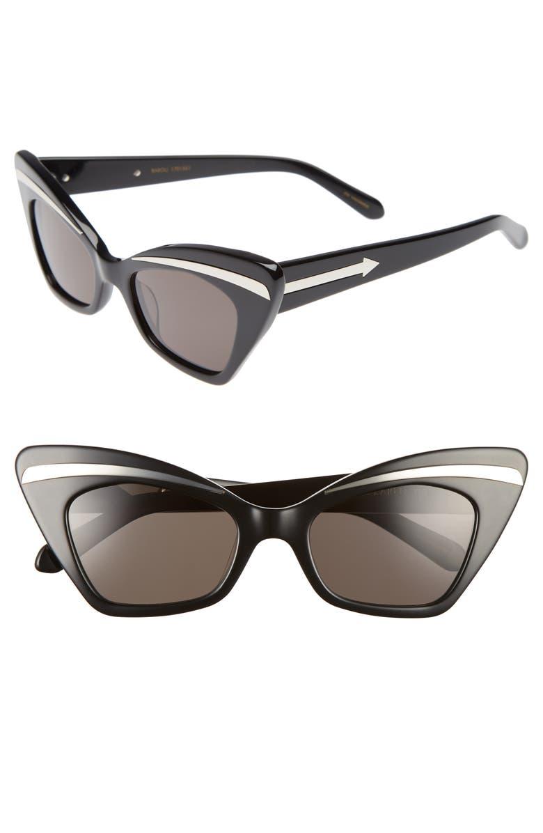 KAREN WALKER Babou 50mm Sunglasses, Main, color, 001