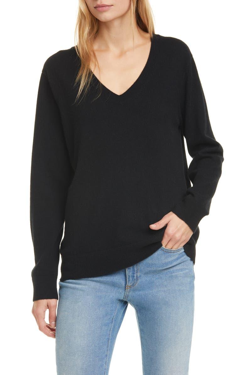 VINCE Weekend V-Neck Cashmere Sweater, Main, color, BLACK