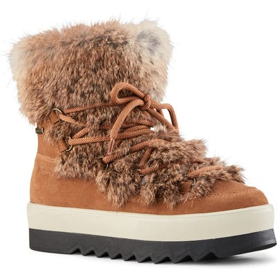 Cougar Vanora Waterproof Boot With Genuine Rabbit Fur Trim, Brown