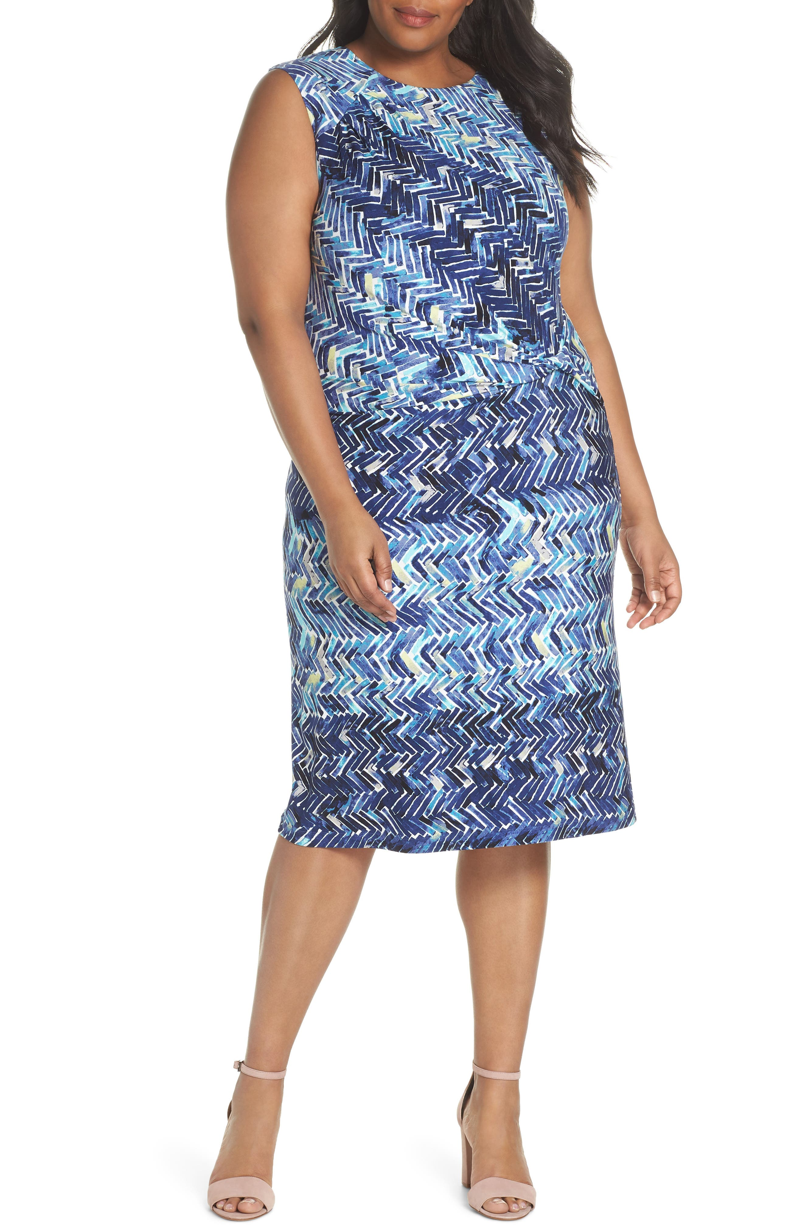 Plus Size Nic+Zoe Seaside Tile Ruched Sheath Dress, Blue