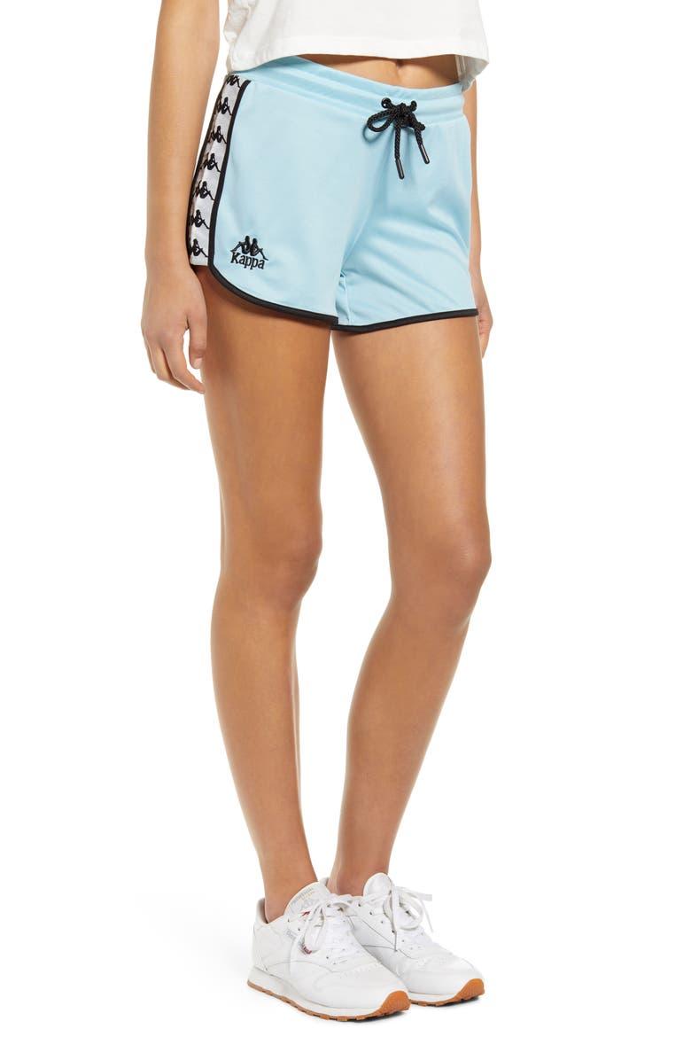KAPPA Logo Tape Mesh Shorts, Main, color, AZURE/ GREY/ SILVER/ BLACK