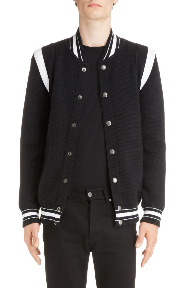GIVENCHY Knit Teddy Wool Varsity Jacket, Main, color, BLACK/WHITE
