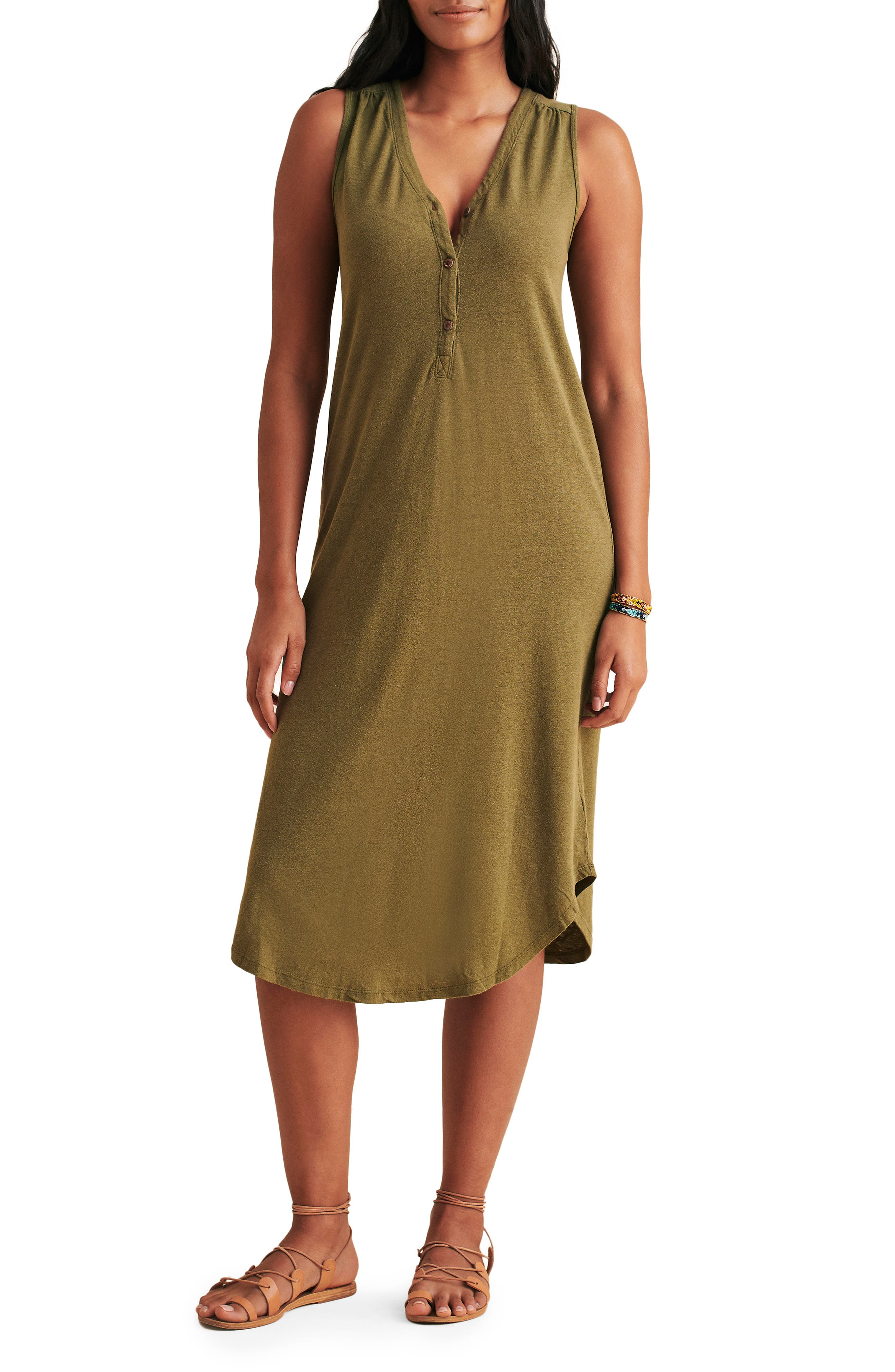 Annie Sleeveless Henley Midi Dress