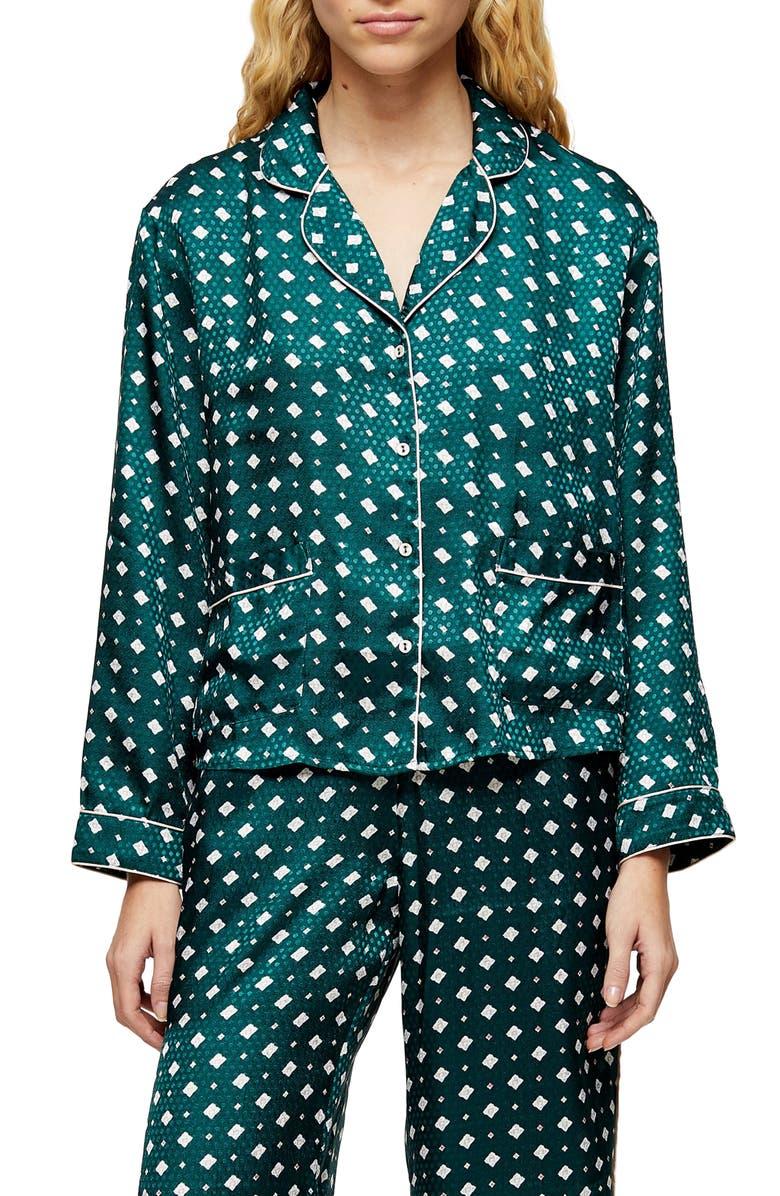 TOPSHOP Tile Jacquard Pajama Shirt, Main, color, 300