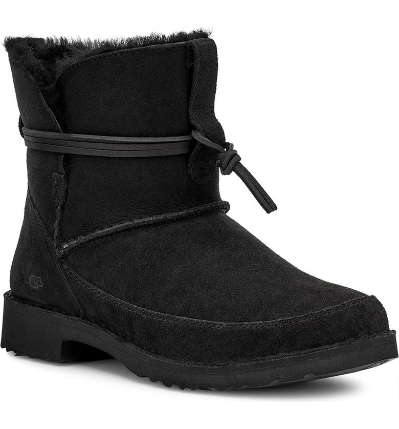 UGG<SUP>®</SUP> Esther Genuine Shearling Bootie, Main, color, 001