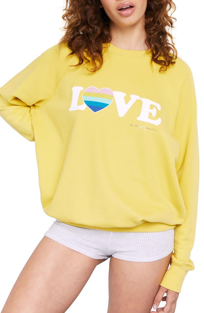 SPIRITUAL GANGSTER Love Graphic Crewneck Sweatshirt, Main, color, CITRINE